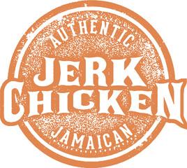 Vintage Jerk Chicken Jamaican Food Menu Stamp