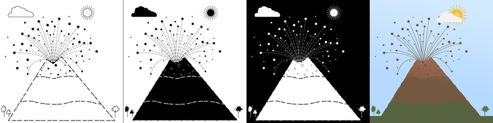 Vector set stock images awakened volcano in line style, silhouette black, white silhouette, flat style. Stock vector illustration of stones being thrown out of the crater. The volcano begins to erupt.