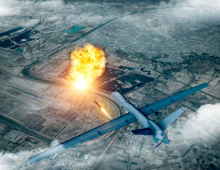 US drone attack on the convoy of the Iranian general Qassem Soleimani, 3d render. Baghdad airport, Iraq.