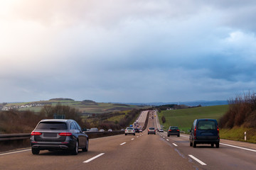 Aluminium Prints Landscapes German broad eight lane highways without speed limits with beautiful view