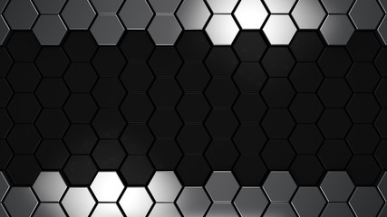 Wall Mural - black and metal 3d hexagons background, 3d render