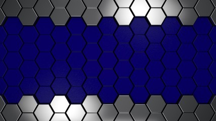 Wall Mural - Blue and metal 3d hexagons background, 3d render