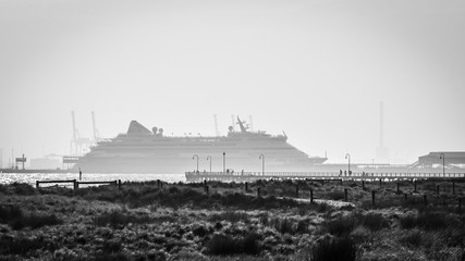 Melbourne, Victoria, Australia, January 3rd, 2020: The German cruise ship 'AIDAaura' is docked at Port Melbourne on, a day the city of Melbourne is smoke affected from bush fires