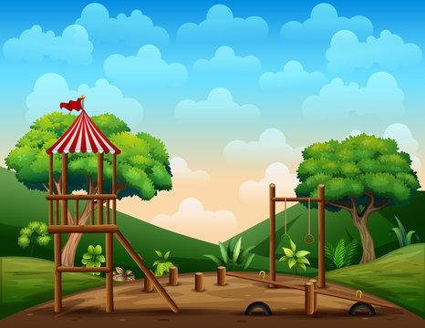 Wooden playground kid at nature background