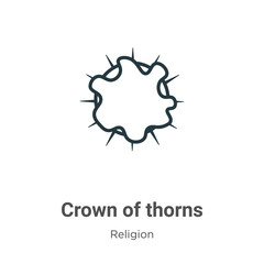 Crown of thorns glyph icon vector on white background. Flat vector crown of thorns icon symbol sign from modern religion collection for mobile concept and web apps design.