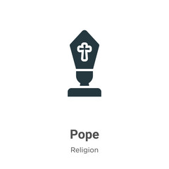 Pope glyph icon vector on white background. Flat vector pope icon symbol sign from modern religion collection for mobile concept and web apps design.
