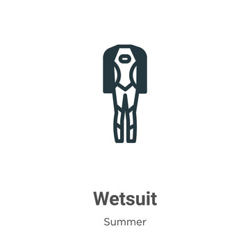 Wetsuit glyph icon vector on white background. Flat vector wetsuit icon symbol sign from modern summer collection for mobile concept and web apps design.
