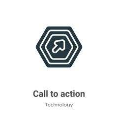 Call to action glyph icon vector on white background. Flat vector call to action icon symbol sign from modern technology collection for mobile concept and web apps design.
