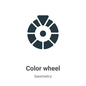 Color wheel glyph icon vector on white background. Flat vector color wheel icon symbol sign from modern geometry collection for mobile concept and web apps design.