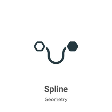 Spline glyph icon vector on white background. Flat vector spline icon symbol sign from modern geometry collection for mobile concept and web apps design.