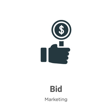 Bid glyph icon vector on white background. Flat vector bid icon symbol sign from modern marketing collection for mobile concept and web apps design.