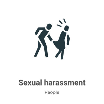 Sexual harassment glyph icon vector on white background. Flat vector sexual harassment icon symbol sign from modern people collection for mobile concept and web apps design.