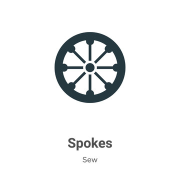 Spokes glyph icon vector on white background. Flat vector spokes icon symbol sign from modern sew collection for mobile concept and web apps design.
