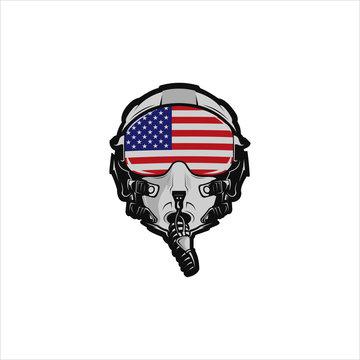 American fighter jet pilot helmet
