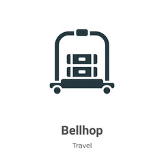 Bellhop glyph icon vector on white background. Flat vector bellhop icon symbol sign from modern travel collection for mobile concept and web apps design.