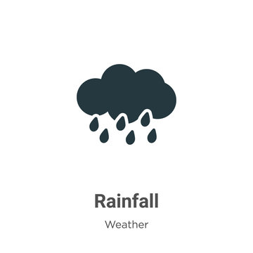 Rainfall glyph icon vector on white background. Flat vector rainfall icon symbol sign from modern weather collection for mobile concept and web apps design.
