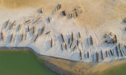 Colourful Pirogues at the beach in Morondava, Madagascar