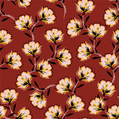 Floral bouquet vector pattern with blooming retro flowers seamless pattern in vector EPS10 ,Design for fashion ,fabric,web,wallpaper,wrapping