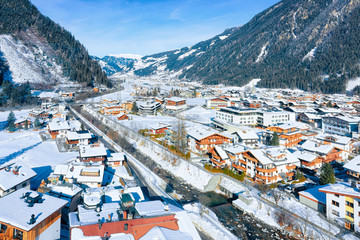 Panorama of ski resort town Mayrhofen with Ziller River in Tyrol in Zillertal valley in Austria in...