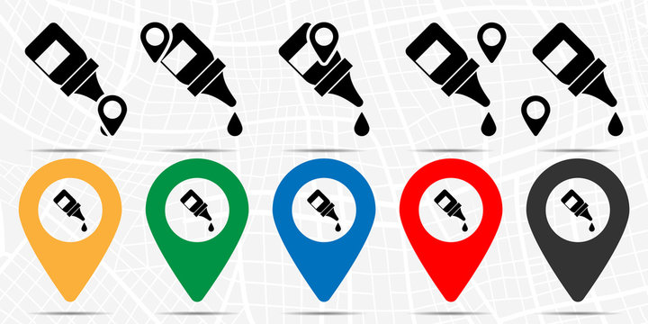 The eye drops, collyrium, bottle icon in location set. Simple glyph, flat illustration element of medicine theme icons