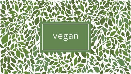 Fototapeta Green leaves label background suitable for vegan products, beauty or food. Vector illustration. obraz