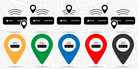 Modem icon in location set. Simple glyph, flat illustration element of technology theme icons