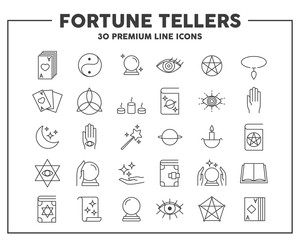 Fortune tellers thin line icon. Concept of divination and card-reading. Vector illustration symbol elements for web design and apps..