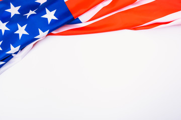 Martin luther king day, flat lay top view, American flag