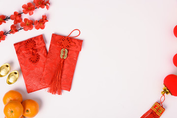Chinese new year festival concept, flat lay top view, Happy Chinese new year with Red envelope and...