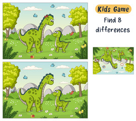 Wall Mural - Find 8 differences. Funny cartoon quiz for kids, with solution. Vector illustration with separate layers.