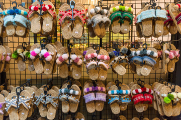 Colorful handicraft shoes selling at the market in Bangkok,Thailand.