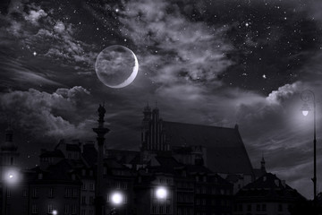Fairyland Warsaw, Old Town, Stars,  moon and cumulonimbus in the night sky