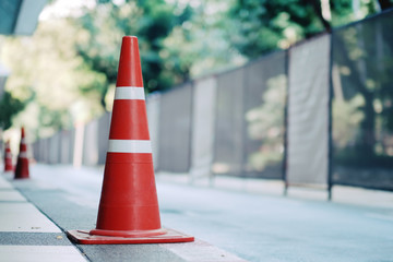 Red traffic cones on closed roads