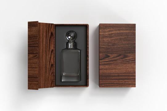 Whiskey decanter bottle Gift Box for branding and mock up. 3d render illustration.