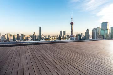 Zelfklevend Fotobehang Shanghai shanghai skyline at sunset