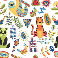 Children seamless pattern on dark background. Kids illustration with cute wild animals, tropical fantastic plants, flowers and colorful shapes. Ethnic pattern and mosaic. Hand drawn vector pictures.