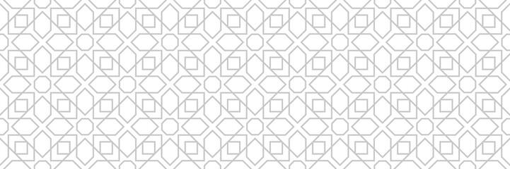 Gray seamless print on white background. Monochrome arabian design Wall mural