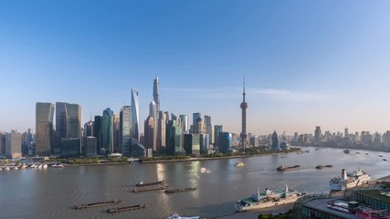 Wall Mural - time lapse of shanghai skyline at dusk, beautiful cityscape of pudong financial center ,view from north bund, China