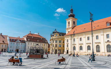 Piata Mare . The main sqaure in the old town of  Sibiu during spring season . One of the most beautiful city which is Unesco sites of the country , Sibiu , Transylvania , Romania Fototapete