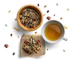 Herbal tea and Cup on white background. The view from the top