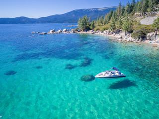 Aerial of boat in Emerald Bay, Lake Tahoe, Nevada Wall mural