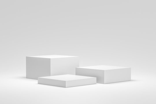 Empty podium or pedestal display on white background with box stand concept. Blank product shelf standing backdrop. 3D rendering.