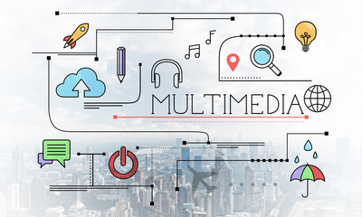 Multimedia content linear sketch with media signs