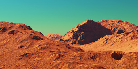 Photo sur Aluminium Rouge traffic Mars landscape, 3d render of imaginary mars planet terrain