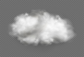 Cloud of fog, smoke, urban smog. Realistic isolated cloud on transparent background. Fotomurales