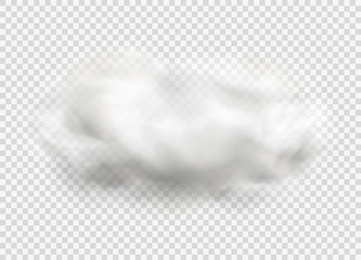 Cloud of fog, smoke, urban smog. Realistic isolated cloud on transparent background. Fotobehang