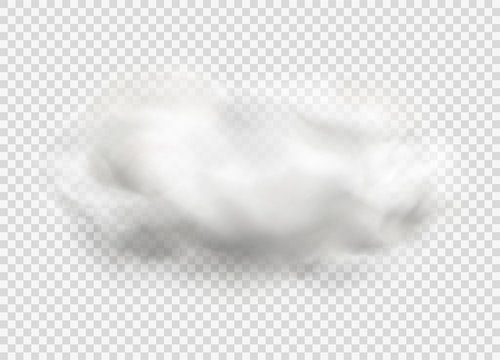 Cloud of fog, smoke, urban smog. Realistic isolated cloud on transparent background.