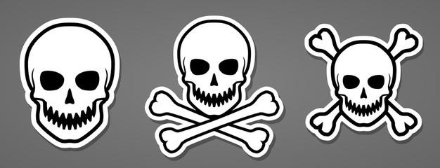 Evil human sharp teeth skull with crossbones sticker vector illustration