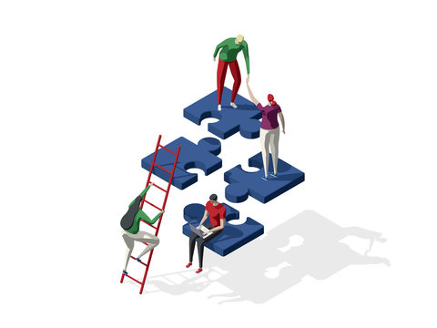 Teamwork concept with persons and puzzle elements. Team Metaphor. Template for web banner, landing page. Flat isometric vector illustration isolated on white background.