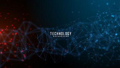 digital technology and particles mesh banner design